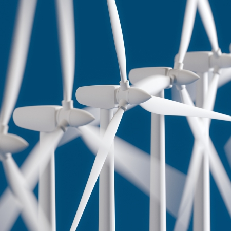 alternativ: Wind Generators On Blue Background  Windmill  Stock Photo