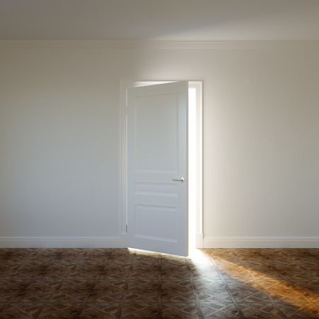 Sunlight on Classic Parquet in New Room with Plaster White Wall and Opened Door photo
