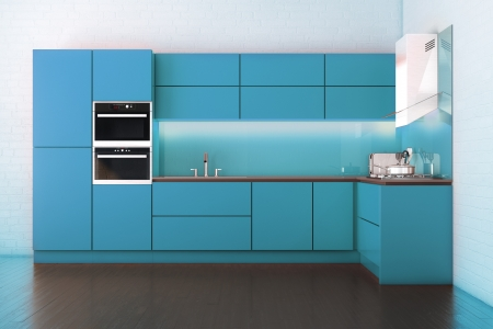 Electric Blue Hi-Tech Luxury Kitchen Cabinet Stock Photo - 18148085