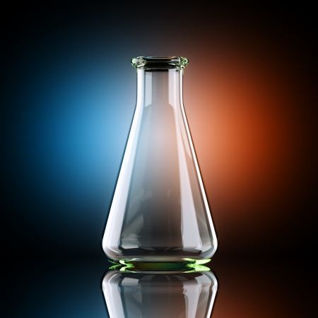 pharmaceutical industry: Erlenmeyer Flask In Studio With Artistic Backlight