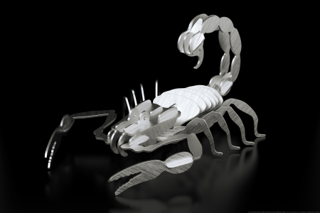 metal cutting: Metal Sheet Scorpion Made By Laser Cutting  Black Background First Version