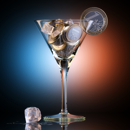 metaphysical: Metaphoric Business Cocktail Created Out Of Euro Coins