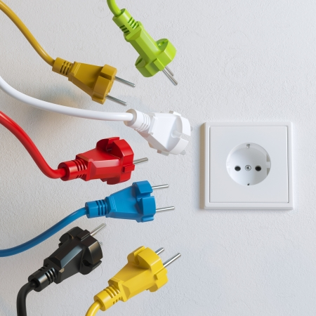 electric outlet: Sockets Need To Plugging In  Colorful Version  Stock Photo
