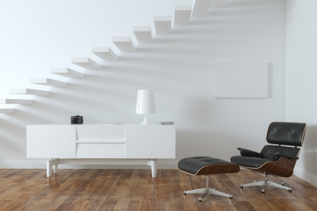 Minimalist Interior Room With Lounge Chair  Frame Version  Zdjęcie Seryjne