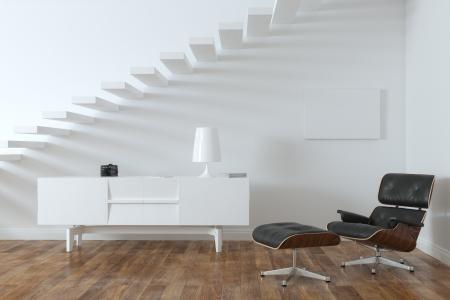 Minimalistisch Interieur Kamer met Lounge Chair Frame Versie Stockfoto