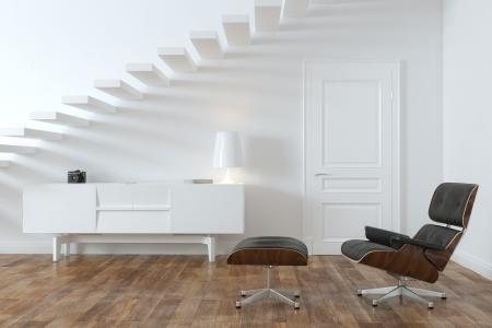 Minimalista sala interna con Lounge Chair Versione Door