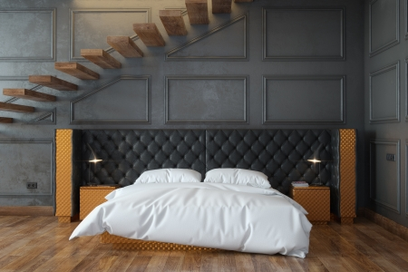 Black Bedroom Interior With Stairs  Front View  Stock Photo