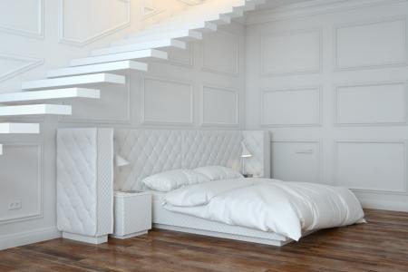 Interior Dormitorio Blanco Con Las Escaleras Perspective View Foto de archivo - 20522647