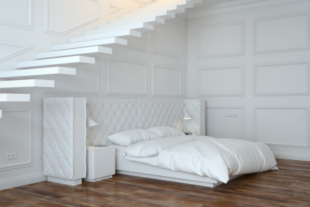 White Bedroom Interior With Stairs  Perspective View  photo