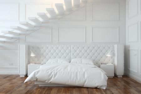 cama: Interior Dormitorio Blanco Con Las Escaleras Front View Foto de archivo