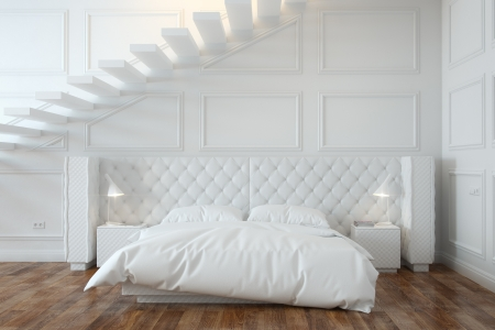 White Bedroom Interior With Stairs  Front View  photo