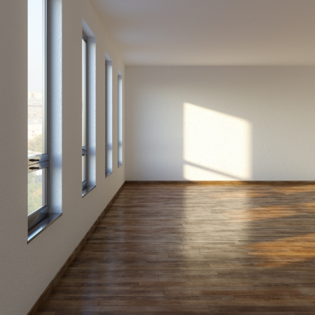 Empty Room Living con piso laminado Foto de archivo - 20522659