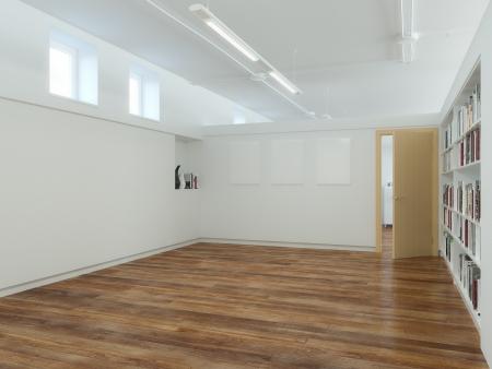 madeira de lei: Vazia do escrit�rio Est�dio Quarto Branco Paredes