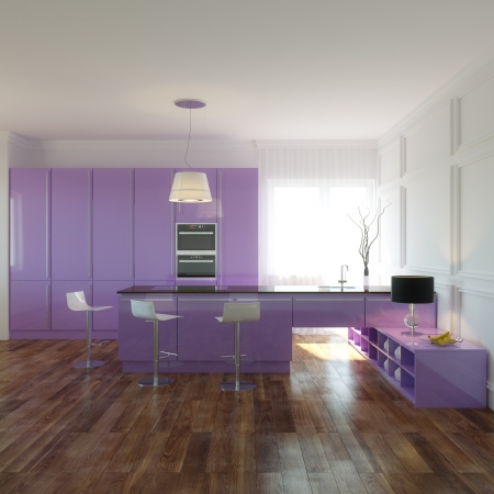 Violet Kitchen in New Interior with Wooden Floor and White Walls Stock Photo