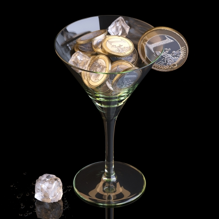business metaphore: Money Business Cocktail On Black Background Stock Photo