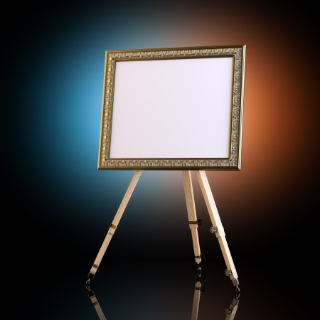 art show: Easel With Carved Picture Frame On Artistic Background
