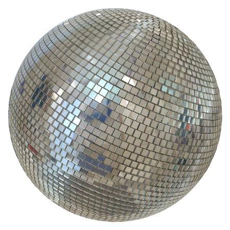 silver balls: Huge Disco Ball Isolated On White Background Stock Photo
