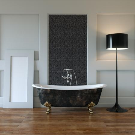 Classic Room Interior con bañera y espejo en Foto de archivo - 20522709