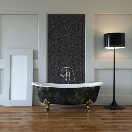Classic Room Interior With Bathtub And Mirror In Stock Photo