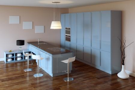 Luxury Kitchen Cabinet  Blue Furniture Stock Photo - 20522685