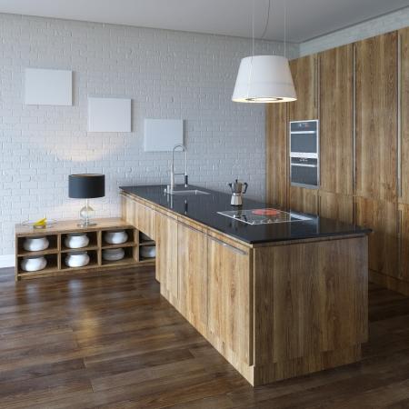 Lujo del gabinete de cocina de madera Muebles Perspective View Foto de archivo - 20522711