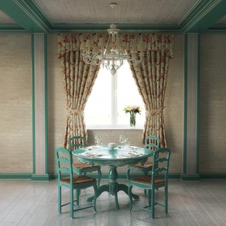 turquesa: Hermosa Provenza Interior de la casa habitación de madera Foto de archivo