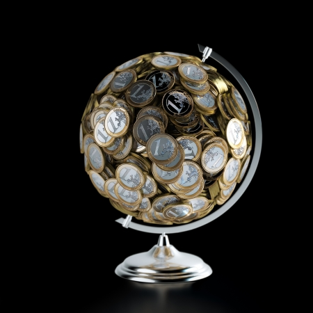valuta: Az érmék Globe pénz fogalmi kép, elszigetelt, fekete Stock fotó