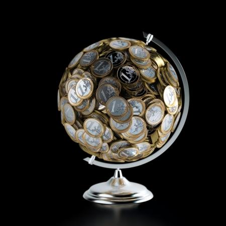 De Munten Globe geld conceptuele afbeelding geïsoleerd op zwarte Stockfoto