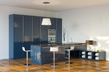 kitchen counter top: Luxury Hi-Tech Dark Blue Kitchen   Perspective View