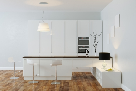 laminate flooring: White Luxury Hi-Tech Kitchen With Bar  Frame Version