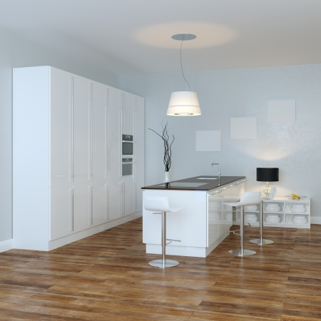 White Luxury Hi-Tech Kitchen With Bar  Perspective View  photo