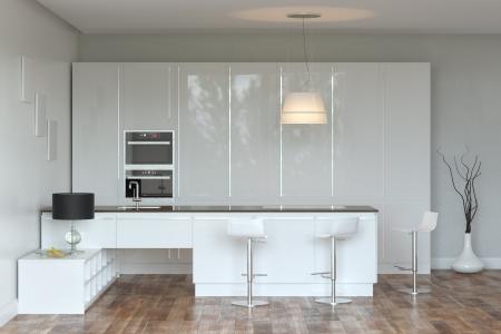 White Hi-Tech Kitchen With Bar Stock Photo - 20522671