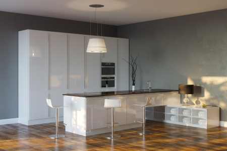 Luxury Hi-Tech Kitchen With Grey Walls And Bar
