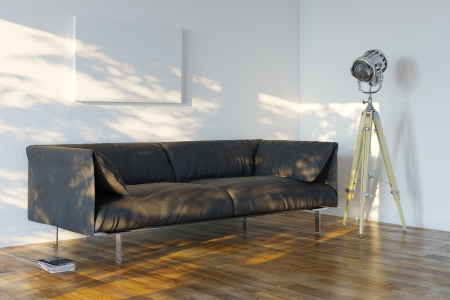 laminate flooring: Minimalistic Room With Sofa And Spotlight  Perspective View