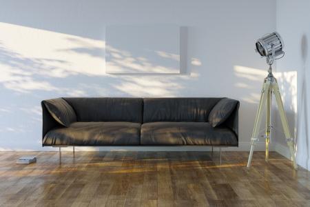 Minimalistische kamer met bank en Spotlight Vooraanzicht