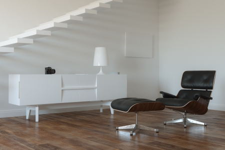 White Room With Upstairs In Minimalistic Style Stock Photo