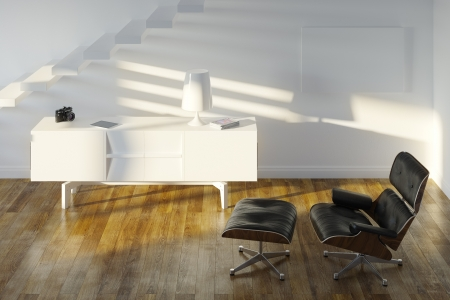 White Minimalistic Room With Black Lounge Chair Stock Photo - 20522682