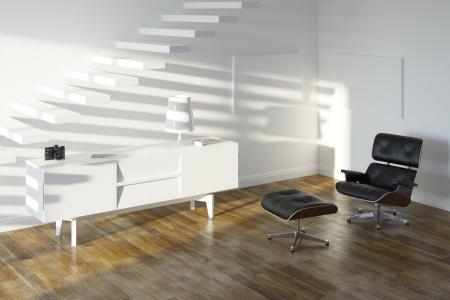 White Lounge Minimalistic Room With Upstairs Stock Photo - 20522672