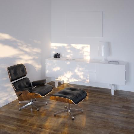 White Lounge Room In Minimalistic Style Standard-Bild