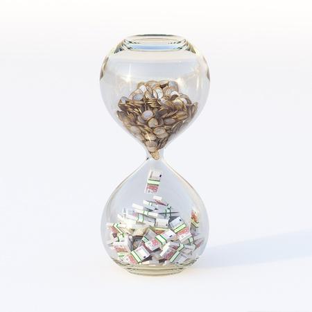 Euro Geld In Zandloper Conceptueel Beeld Van Succesvolle Zaken Forth Version Stockfoto