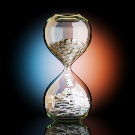 功妙な背景にビジネスの成功の砂時計の概念図でユーロのお金