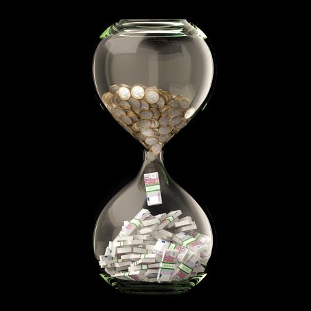 Dinero Euro En Reloj Conceptual imagen de éxito de negocios aislados en Negro Foto de archivo - 21073229