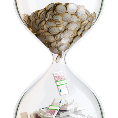 business metaphore: Euro Money In Hourglass  Conceptual Picture Of Successful Business  First Version