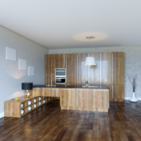 Luury Wooden Kitchen Cabinet Stock Photo