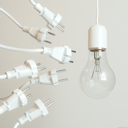 Many Sockets With A Lightbulb  Conceptual Picture  photo