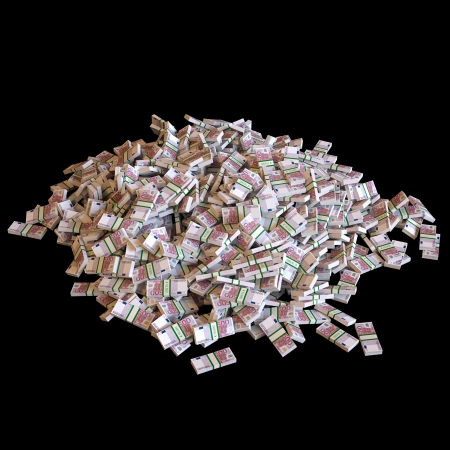 Heap Of Euro Banknotes  Isolated On Black