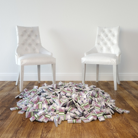 Interior Room With White Leather Chairs And Money On Wooden Floor Stock Photo - 23041786