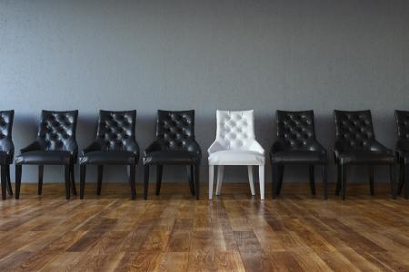business metaphore: Conceptual Leadership Picture  Chairs In Classic Interior