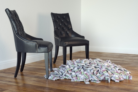 Interior With Black Chairs And Money On Laminate Floor Stock Photo - 23041790