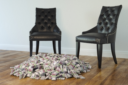 shop floor: Interior With Black Chairs And Money On Laminate Floor